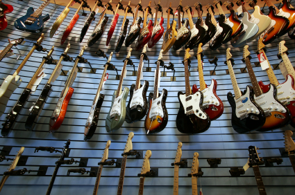 guitars in a guitar store